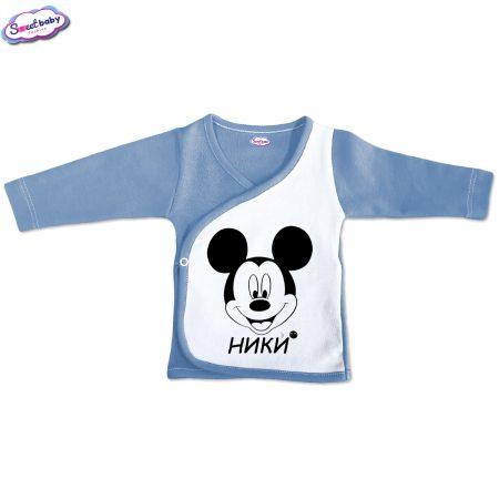 Бебешка камизолка Ники М синьо бяло