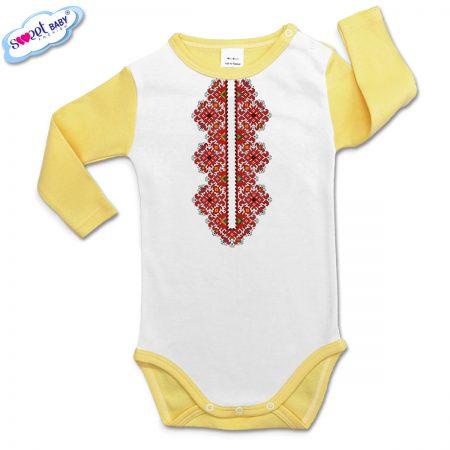 Бебешко боди Шевица деколте жълто бяло