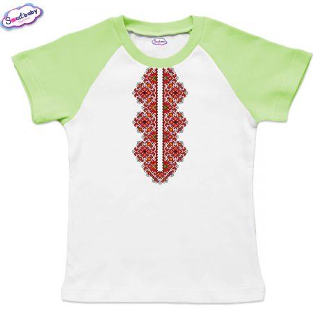 Детска тениска Шевица деколте бяло зелено