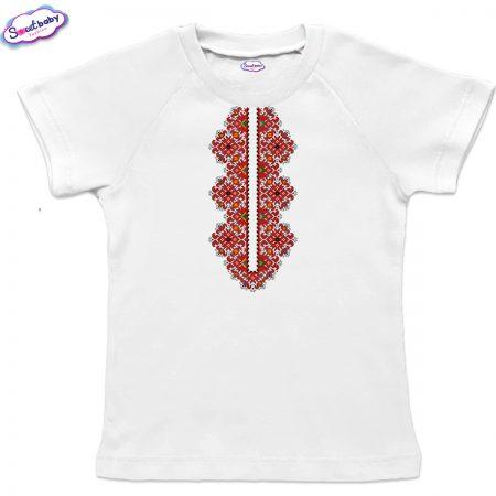 Детска тениска Шевица деколте бяло