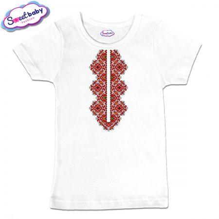 Детска тениска Шевица деколте в бяло