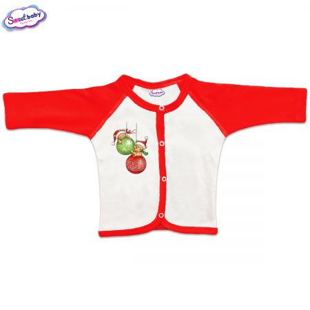 Бебешка жилетка Коледни топки червено бяло