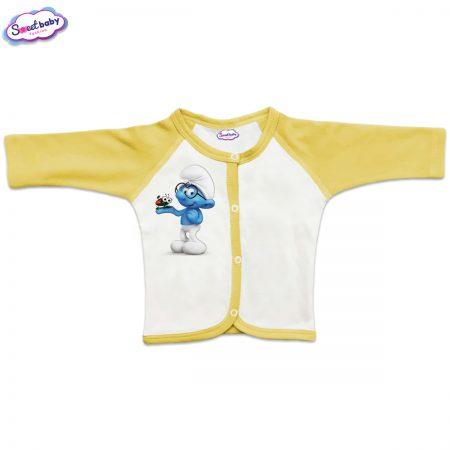 Бебешка жилетка Смърф с калинка жълто