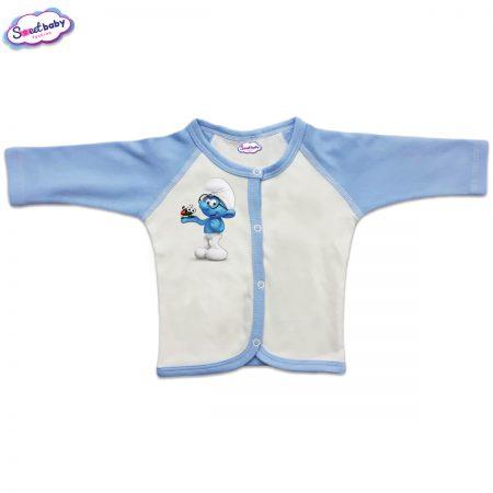 Бебешка жилетка Смърф с калинка синьо