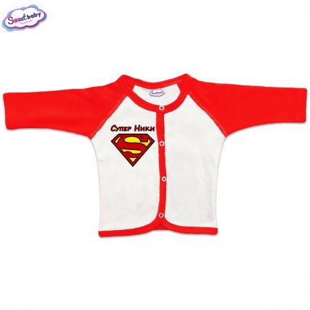 Бебешка жилетка Супер Ники червено бяло