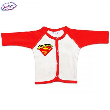 Бебешка жилетка SuperGirg червено бяло