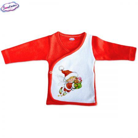 Бебешка камизолка Коледен Елф червено бяло