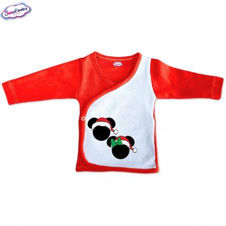 Бебешка камизолка Коледни Микимаски червено бяло