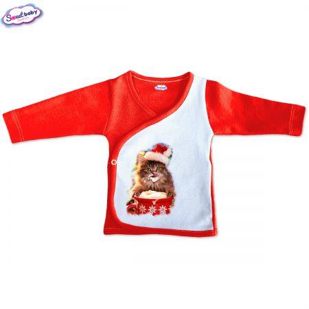 Бебешка камизолка Коледно млекце червено бяло