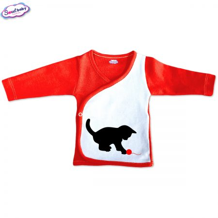 Бебешка камизолка Коте и прежда червено