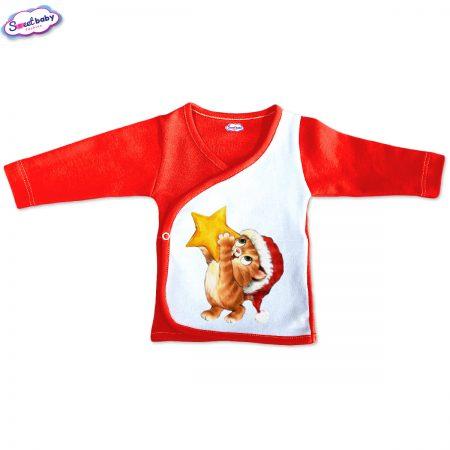 Бебешка камизолка Коте със звезда червено