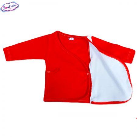 Бебешка камизолка червено и бяло разгъната