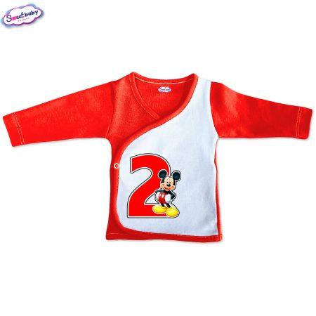 Бебешка камизолка 2 Маус червено бяло