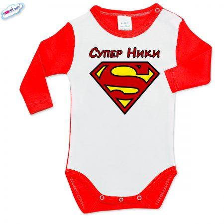 Бебешко боди Супер Ники червено бяло