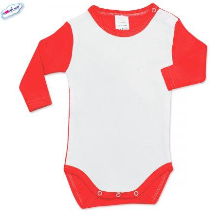 Бебешко боди дълъг ръкав червено бяло