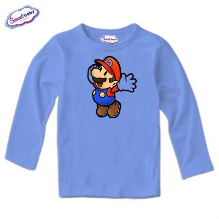 Блузка Супер Марио дълъг ръкав синьо