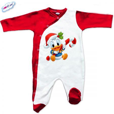 Бебешки гащеризон Доналд с коледна шапка червено
