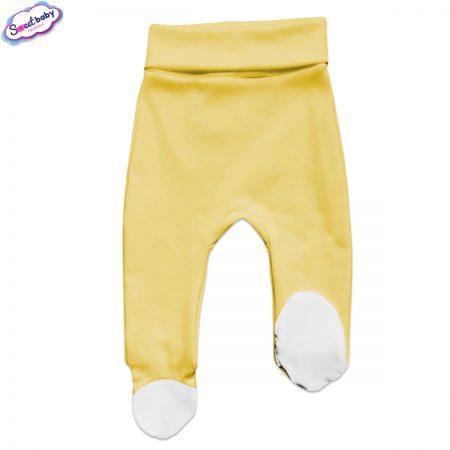 Бебешки ританки жълто и бяло с бели палци