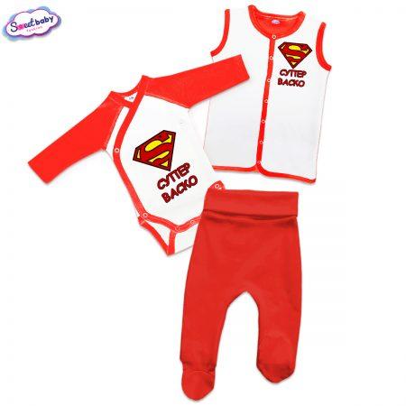 Бебешки сет Супер Васко в червено