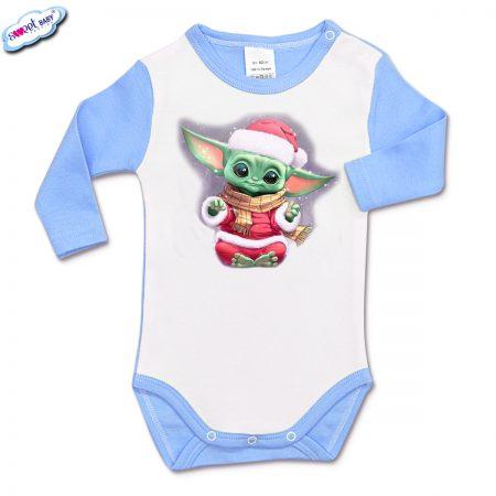 Бебешко боди Йода Коледа синьо бяло