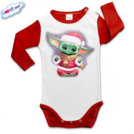 Бебешко боди Йода Коледа червено бяло