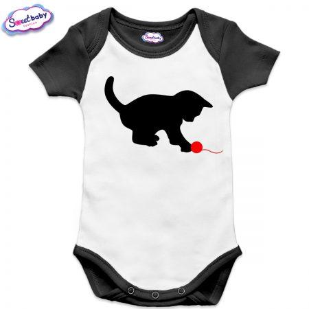 Бебешко боди US Коте с прежда черно