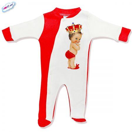 Бебешко гащеризонче BabyQueen червено и бяло