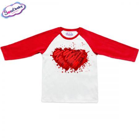 Блузка Две сърца червено и бяло