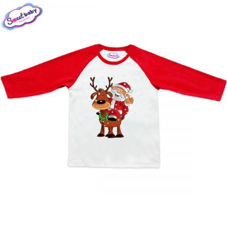 Блузка Дядо Коледа с еленче червено