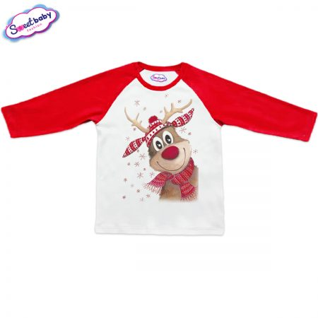 Блузка Коледно еленче с шал червено