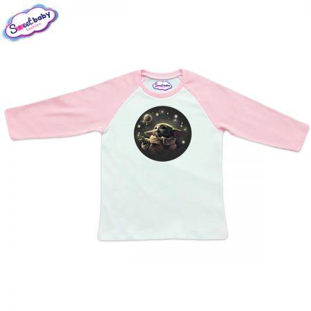 Блузка Baby Yoda розово и бяло