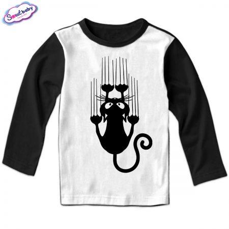 Детска блуза Черно коте черно бяло