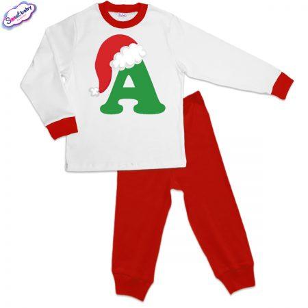 Детска пижама А шапка червено бяло