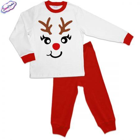 Детска пижама Еленмаска червено и бяло