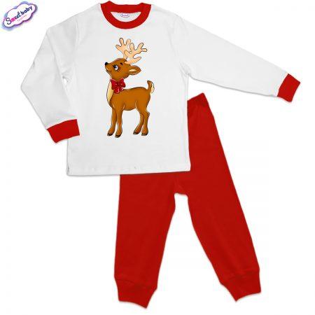 Детска пижама Еленче с панделка червено