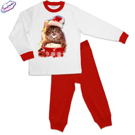 Детска пижама Коледно млекце червено бяло