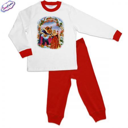 Детска пижама Красавицата и Звярът на Коледа червено