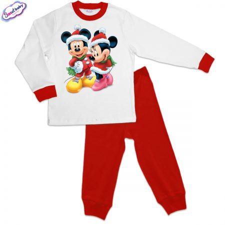 Детска пижама Мики и Мини на Коледа червено