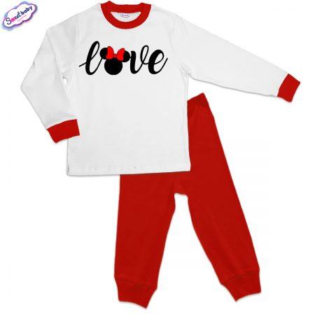 Детска пижама LOOVE червено и бяло
