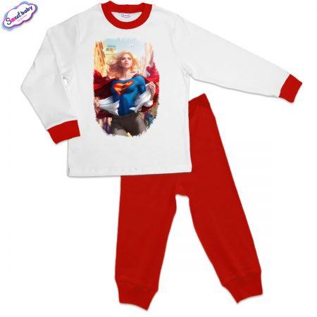 Детска пижама Super Girl червено бяло