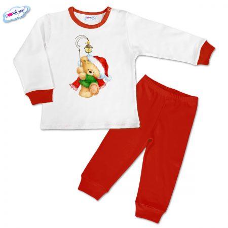 Детска пижамка Коледен мечок червено бяло