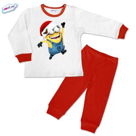 Детска пижамка Миньон с коледна шапка червено