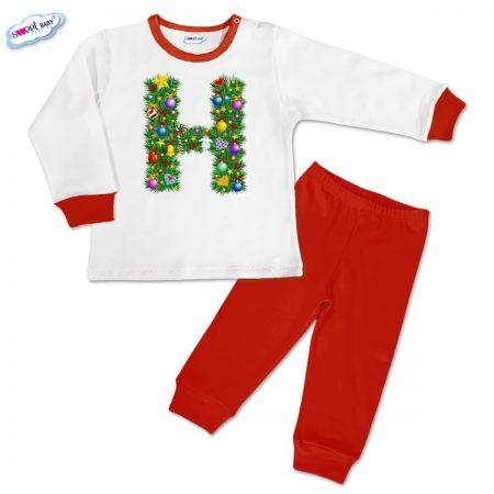Детска пижамка Н Коледа червено бяло