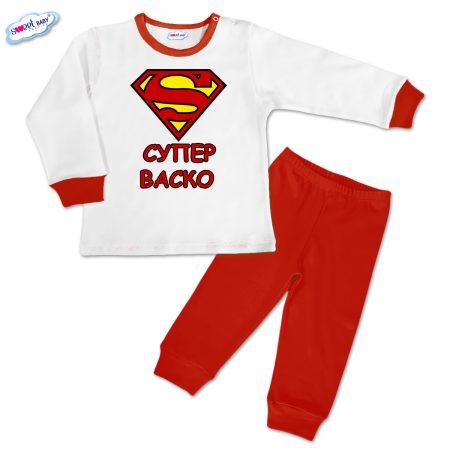 Детска пижамка Супер Васко червено бяло