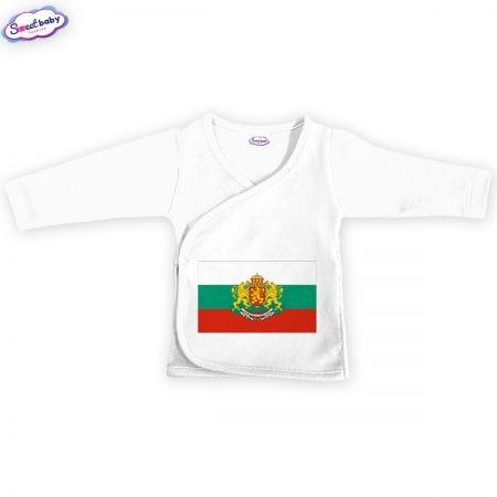 Бебешка камизолка Българско знаме в бяло
