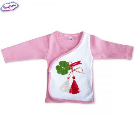 Бебешка камизолка Късмет розово и бяло