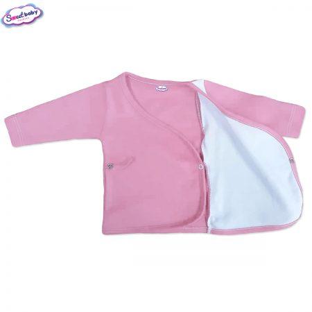 Бебешка камизолка в розово и бяло разгъната