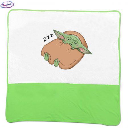 Бебешка пелена Бебе Йода зелено бяло
