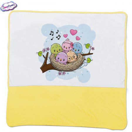 Бебешка пелена Птичета жълто бяло