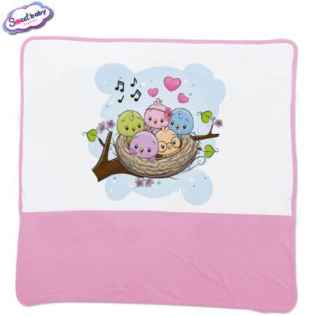 Бебешка пелена Птичета розово бяло
